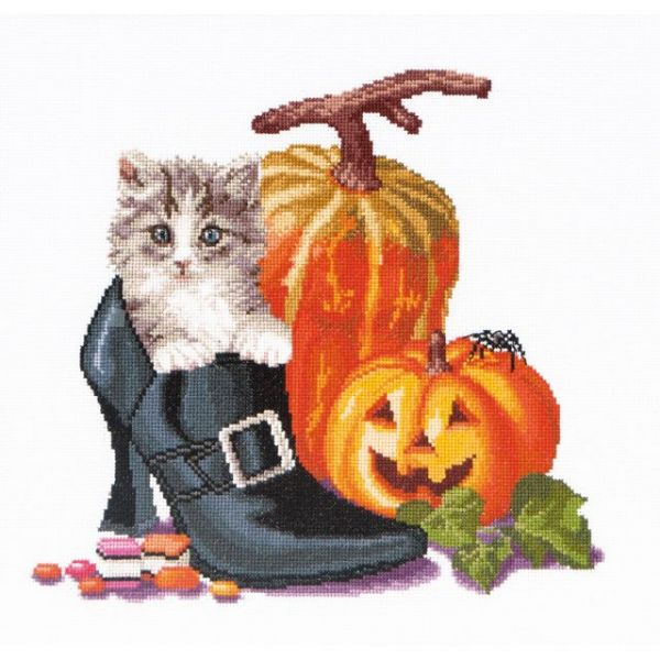 Halloween Kitten On Aida Counted Cross Stitch Kit