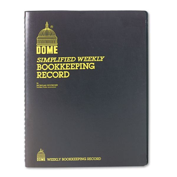 Dome Simplified Weekly Bookkeeping Record, Brown Vinyl Cover, 128 Pages, 8 1/2 x 11