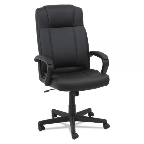 OIF Leather High-Back Chair, Fixed Loop Arms, Black