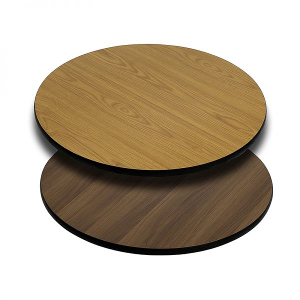 Flash Furniture 30'' Round Table Top with Natural or Walnut Reversible Laminate Top