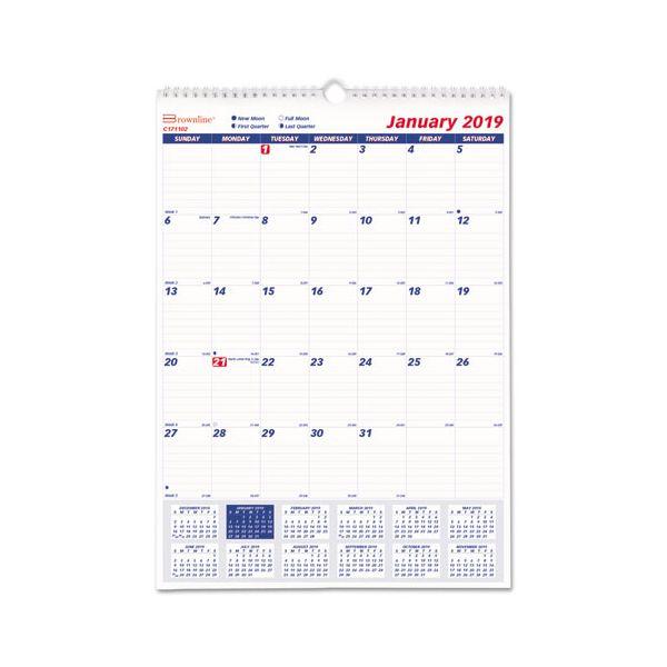 Brownline One Month Per Page Twin Wirebound Wall Calendar, 12 x 17, 2019