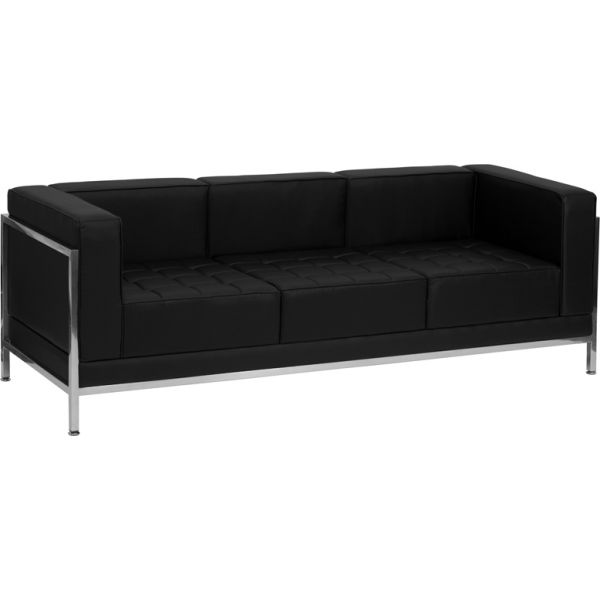 Flash Furniture HERCULES Imagination Series Contemporary Black Leather Sofa with Encasing Frame