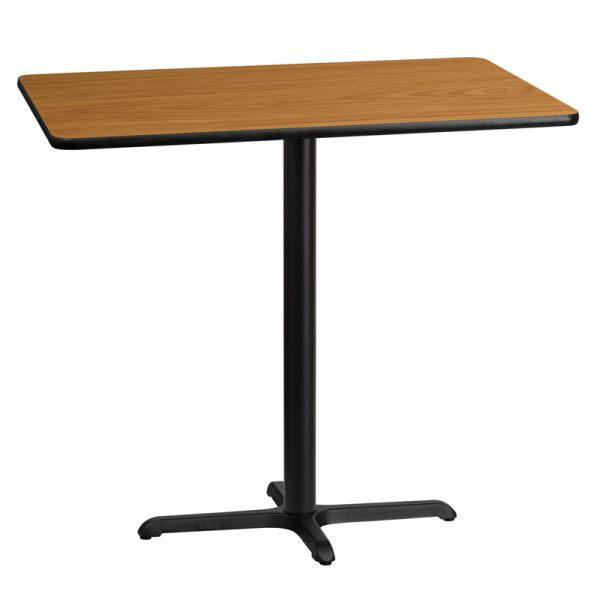 Flash Furniture 30'' x 45'' Rectangular Natural Laminate Table Top with 22'' x 30'' Bar Height Table Base