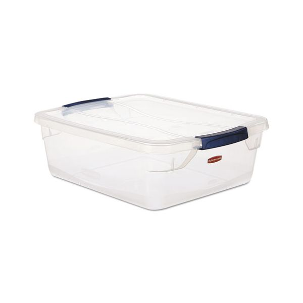 Rubbermaid Clever Store Snap-Lid Container, 18 3/4 x 23 3/4 x 12 3/8, 71 qt, Clear, 8/CT