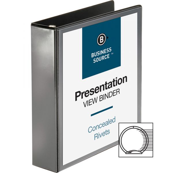 """Business Source Standard 2"""" 3-Ring View Binder"""