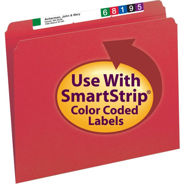 Smead 12710 Red Colored File Folders with Reinforced Tab