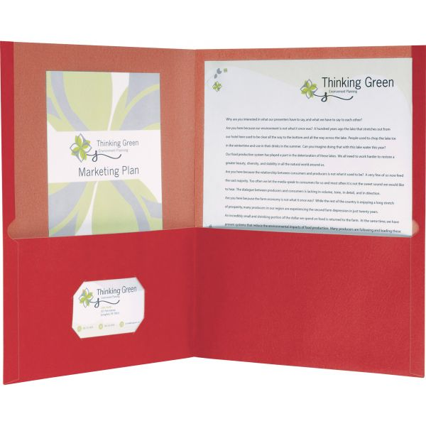 Earthwise by Oxford 100% Recycled Paper Twin-Pocket Portfolio, 100-Sheet Capacity, Red, 25/Box