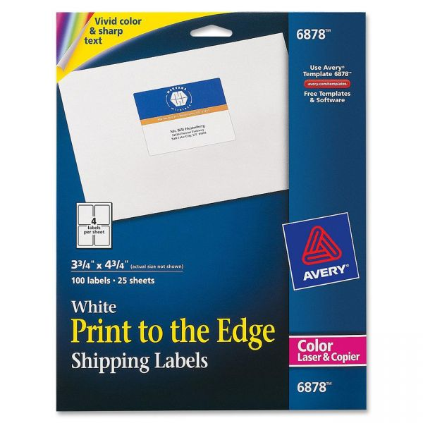 Avery Vibrant Color-Printing Shipping Labels, 3 3/4 x 4 3/4, White, 100/Pack