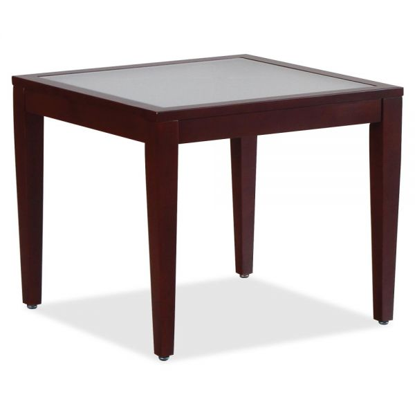 Lorell Glass Top Mahogany Frame Table