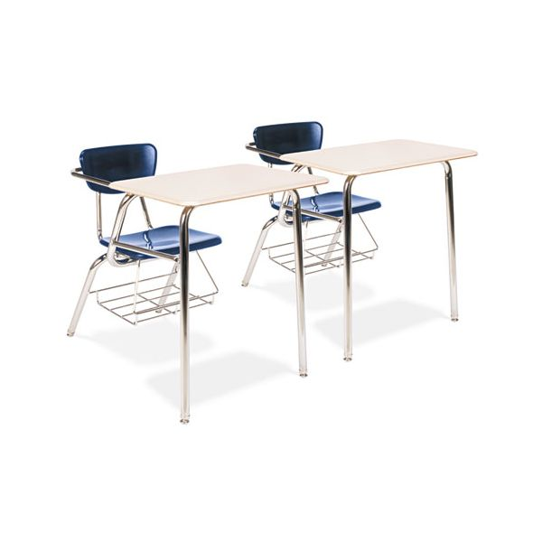 Virco 3400 Series Chair Desk, 22-3/4w x 35-3/4d x 29-1/4h, Sandstone/Navy, 2/Carton