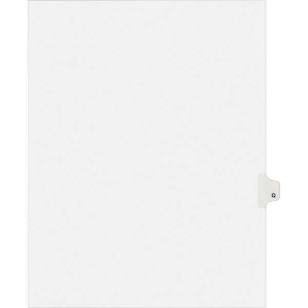 Avery Allstate-Style Legal Exhibit Side Tab Divider, Title: Q, Letter, White, 25/Pack
