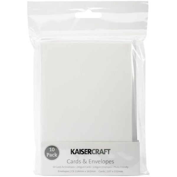"Kaisercraft C6 Cards & Envelopes 4.5""X6.25"" 10/Pkg"