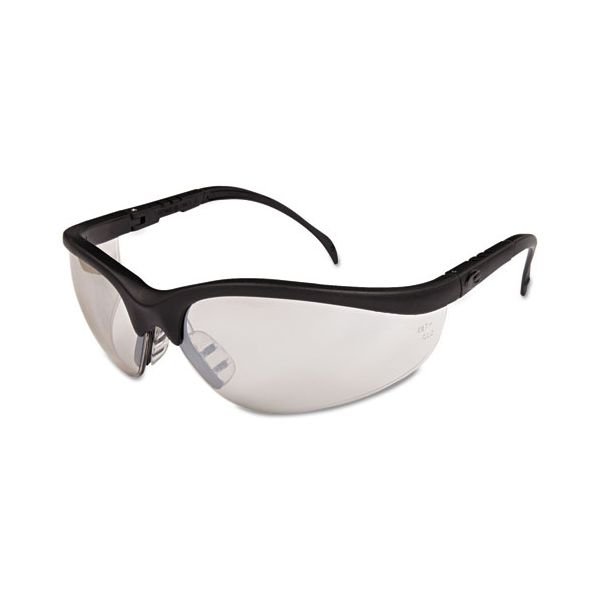 Crews Klondike Safety Glasses, Black Matte Frame, Clear Mirror Lens