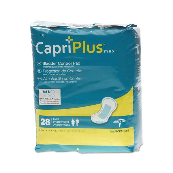 "Medline Capri Plus Bladder Control Pads, Ultra Plus, 8"" x 17"", 28/Pack"