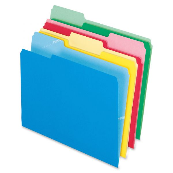 Pendaflex CutLess File Folders, 1/3 Cut Top Tab, Letter, Assorted, 100/Box