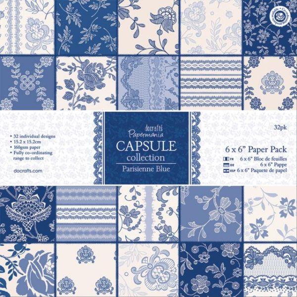 "Papermania Parisienne Blue Paper Pack 6""X6"" 32/Sheets"