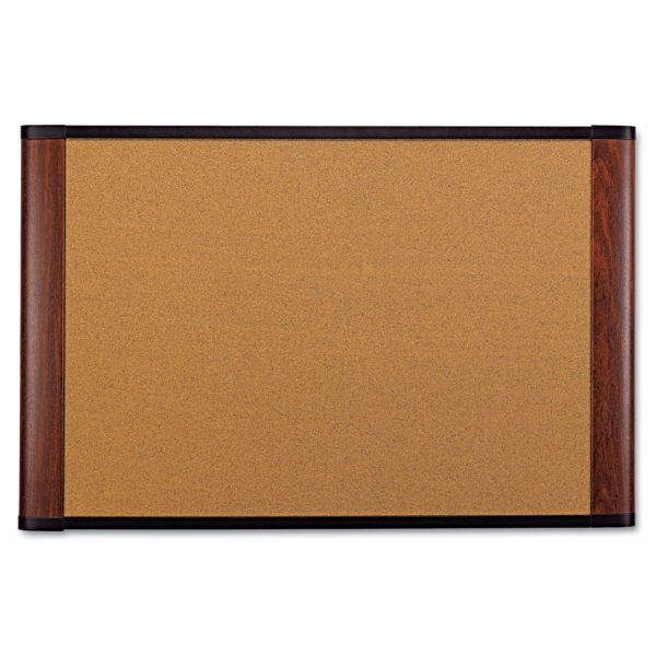 3M Cork Bulletin Board, 72 x 48, Aluminum Frame w/Mahogany Wood Grained Finish