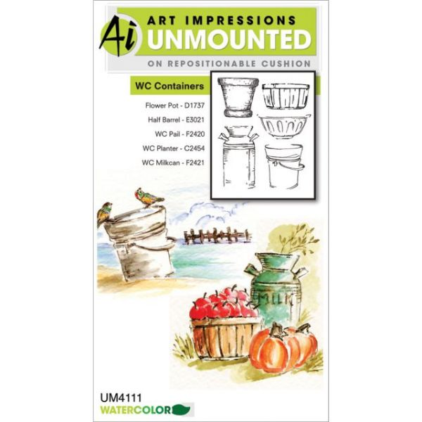 "Art Impressions Watercolor Cling Rubber Stamps 4""X7"""