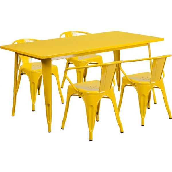 Flash Furniture 31.5'' x 63'' Rectangular Yellow Metal Indoor-Outdoor Table Set with 4 Arm Chairs