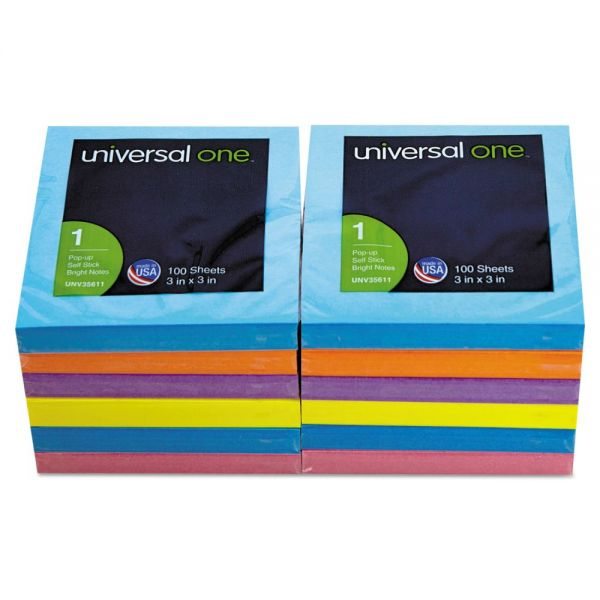 "Universal 3"" x 3"" Pop-Up Adhesive Note Pads"