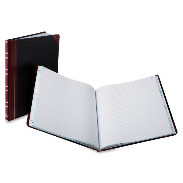Boorum & Pease Record Ruled Book, Black Cover, 150 Pages, 10 1/8 x 12 1/4