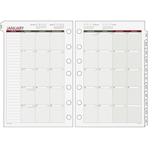 Day Runner Express Tab Month-In-View Dated Calendar Refill