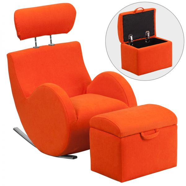 Flash Furniture HERCULES Series Orange Fabric Rocking Chair with Storage Ottoman