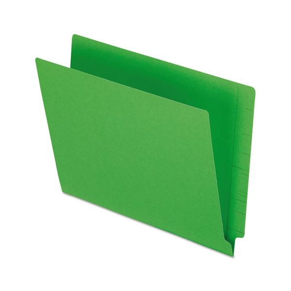 Pendaflex Reinforced End Tab Folders, Two Ply Tab, Letter, Green,  100/Box