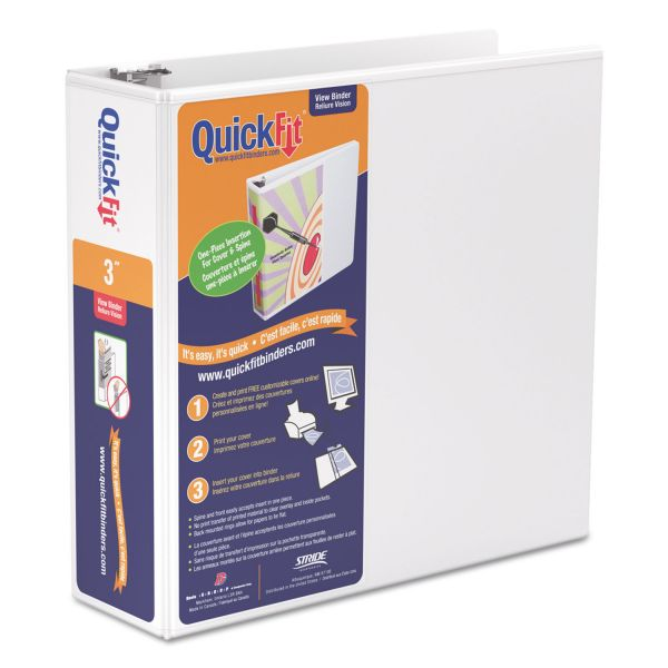 "Stride QuickFit 3-Ring View Binder, 3"" Capacity, Round Ring, White"