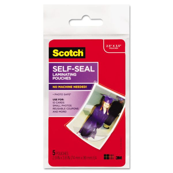 Scotch Self-Sealing Laminating Pouches, Glossy, 2 13/16 x 3 3/4, Wallet Size, 5/Pack