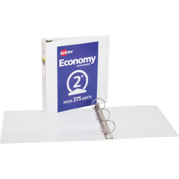 "Avery Economy 3-Ring View Binder, 2"" Capacity, Round Ring, White"