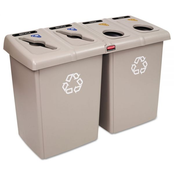 Rubbermaid Commercial Glutton Recycling Station, Four-Stream, 92 gal, Beige