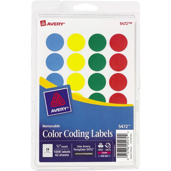 """Avery Printable Removable Color-Coding Labels, 3/4"""" dia, Assorted, 1008/Pack"""