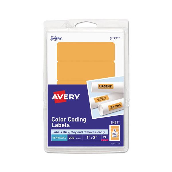 Avery Printable Removable Color-Coding Labels, 1 x 3, Neon Orange, 200/Pack