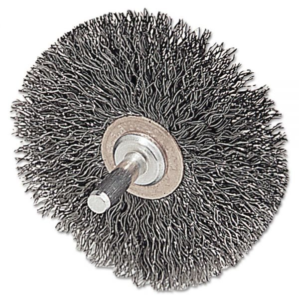 "Weiler CFX-2 Stem-Mounted Crimped Wire Wheel, 2"" dia, Stainless Steel, .0118 Wire"