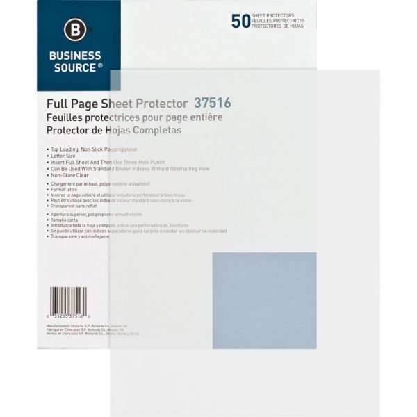 Business Source 3-Hole Punched Non-Glare Sheet Protectors