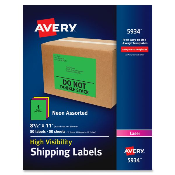 Avery 5934 Neon Shipping Labels