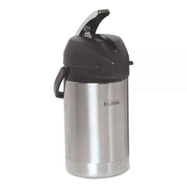BUNN 2.5 Liter Lever Action Airpot, Stainless Steel