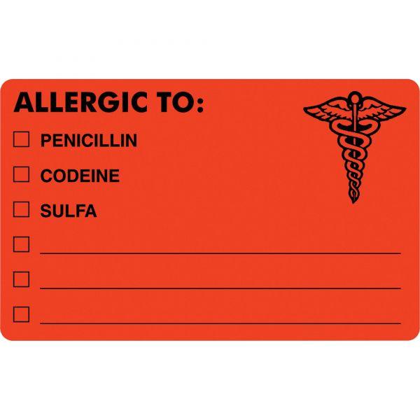 Tabbies Drug Allergy Medical Warning Labels, 2-1/2 x 4, Orange, 100/Roll