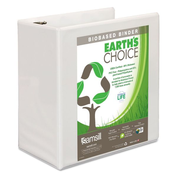 "Samsill Earth's Choice Biobased D-Ring View Binder, 5"" Cap, White"