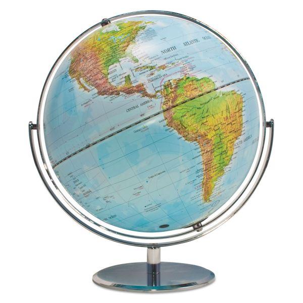 "Advantus Political/Physical World Globe, 12"" dia, Silver Metal Base"