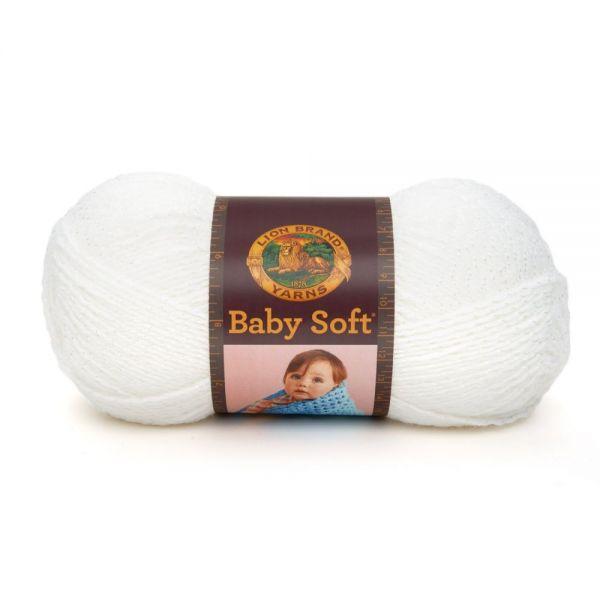 Lion Brand Baby Soft Yarn - White Pomp