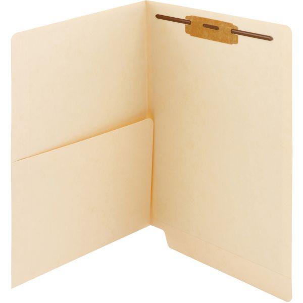 Smead Manila End Tab Pocket Folders with Fasteners