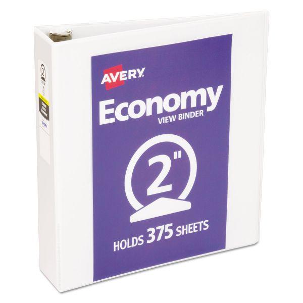 """Avery Economy 3-Ring View Binder, 2"""" Capacity, Round Ring, White"""