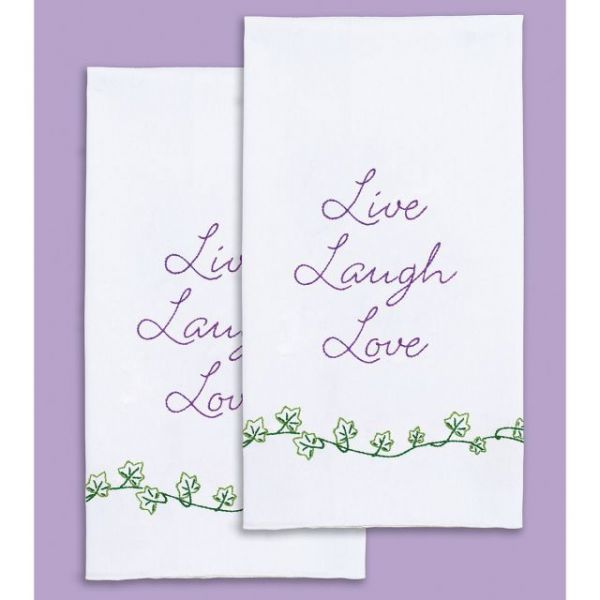 "Stamped White Decorative Hand Towel Pair 17""X28"""
