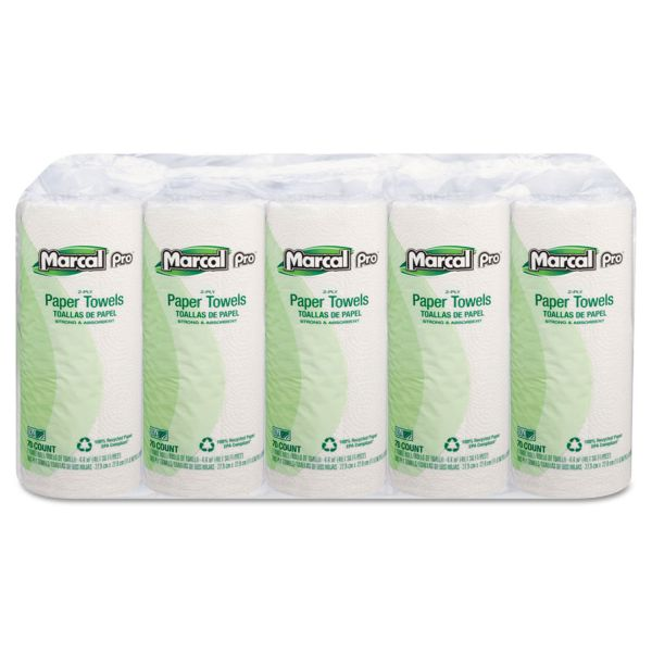 Marcal PRO 100% Premium Recycled Perforated Paper Towels, 11 x 9, 2-Ply, White, 70 Sheets/Roll, 15 Rolls/Carton