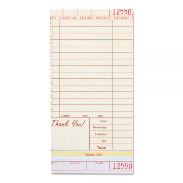 Royal Guest Check Book, Carbonless Triplicate, 4 1/5 x 8 1/2, 200/Pack, 10 PK/Carton