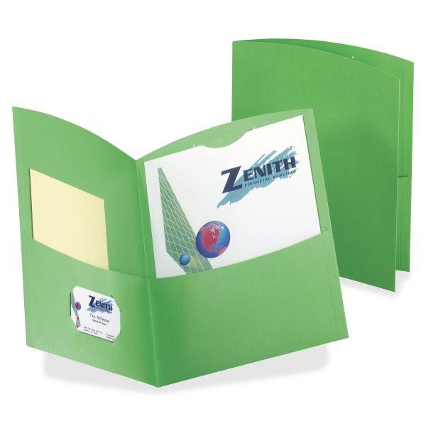 Oxford Contour Green Two Pocket Folders