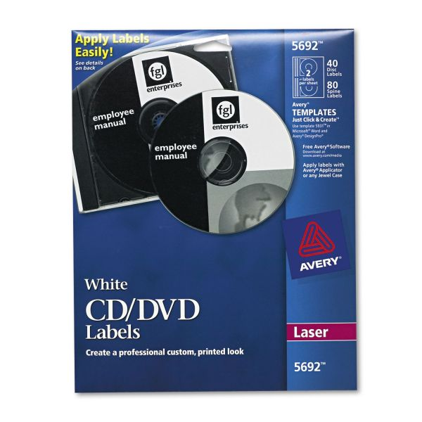 Avery Laser CD Labels, Matte White, 40/Pack