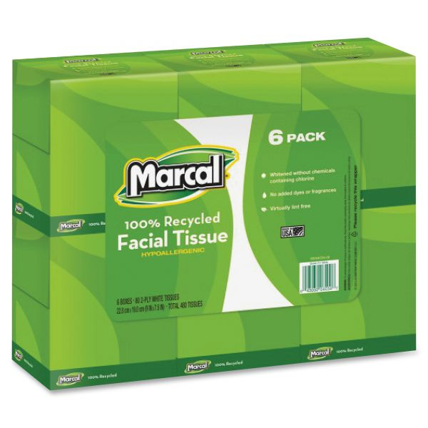 Marcal Small Steps 100% Premium Recycled 2-Ply Facial Tissues
